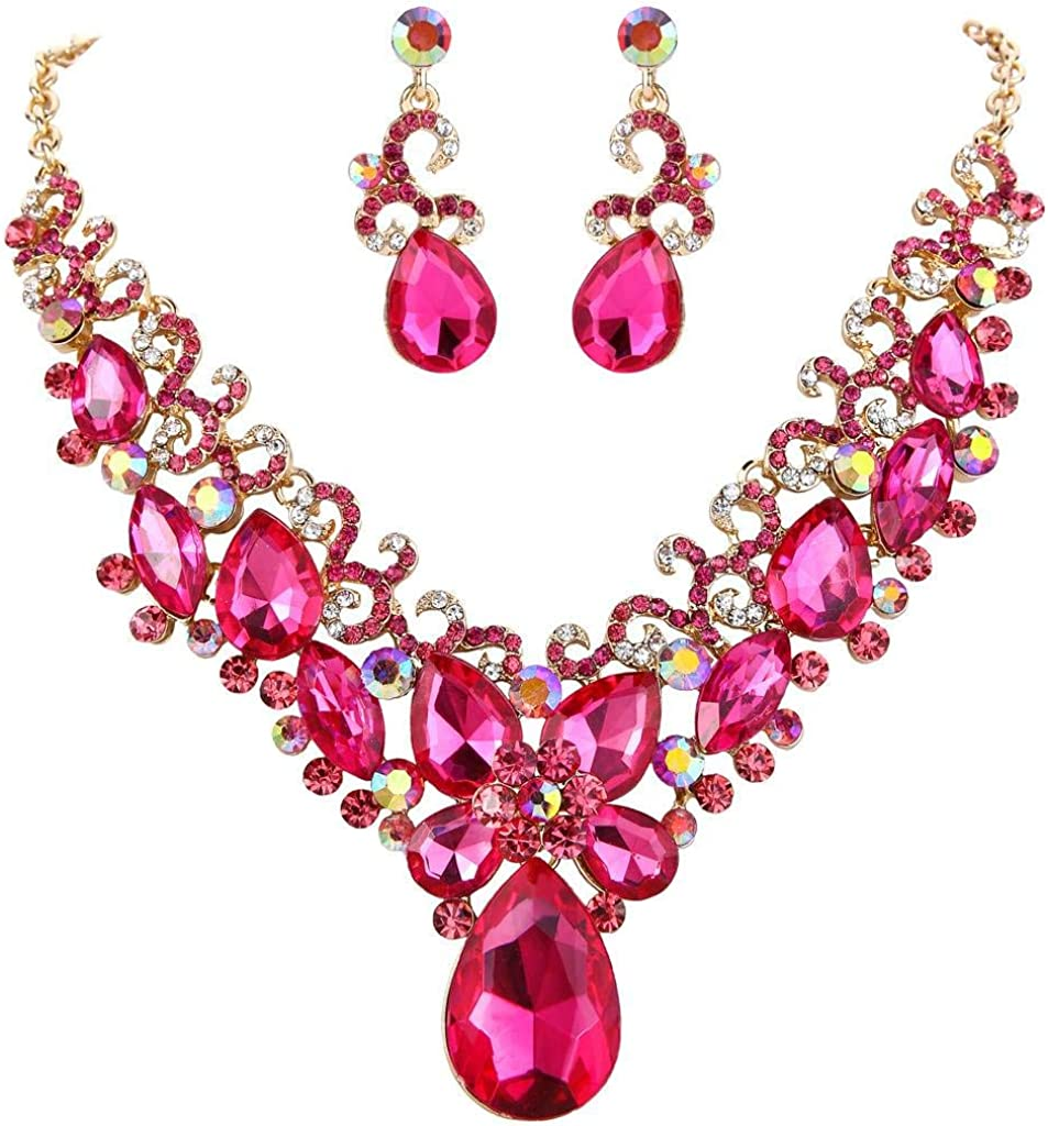 BriLove Women's Costume Fashion Crystal Teardrop Marquise Butterfly Filigree Enamel Statement Necklace Dangle Earrings Set