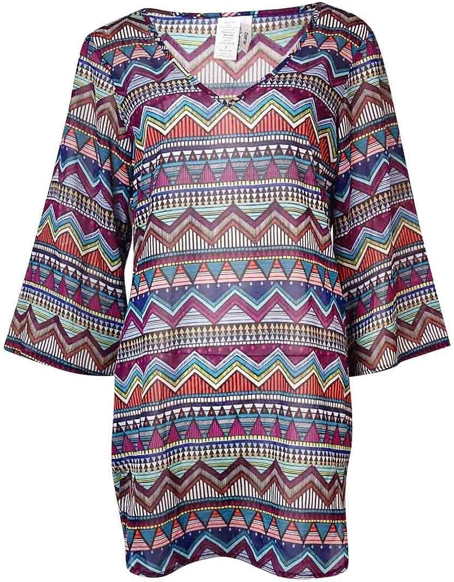 bar III Women's Tribal V-Neck Tunic Swimsuit Cover