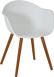"""greemotion Silla """"Locarno"""" con respaldo y asiento cómodo  para jardín, terraza o patio, Mueble para exterior, Aluminio y textileno, 57/88/64 cm, gris/beis"""