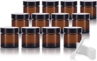 Amber Glass Straight Sided Jar - 1 oz (12 Pack) + Spatulas