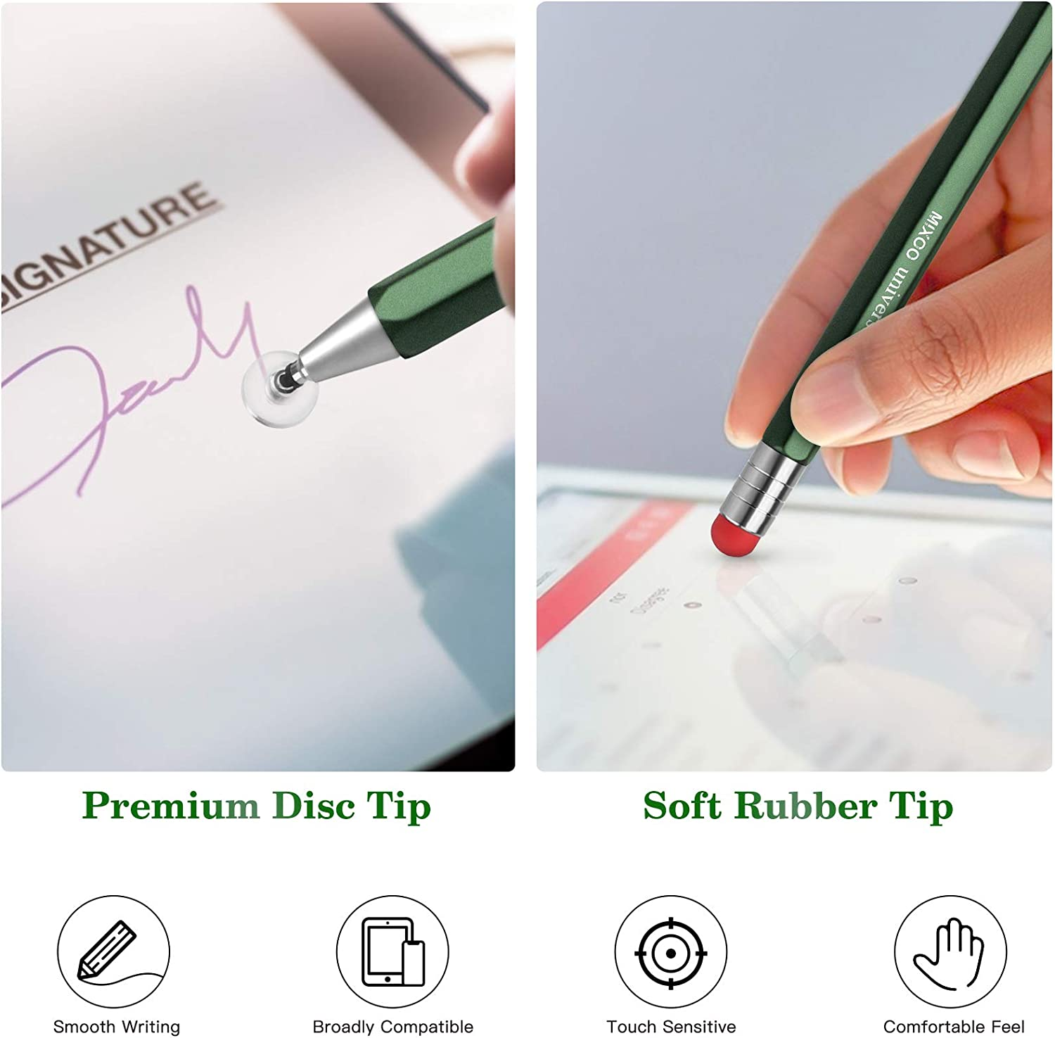 2 in 1 Rotatable Capacitive Universal Pen with 2 Disc /& 4 Fiber Replacement Tips for iPad//iPhone//Pro//Mini//Air//Tablets//Microsoft and All TouchScreen Devices Mixoo Stylus for Touch Screens Champagne
