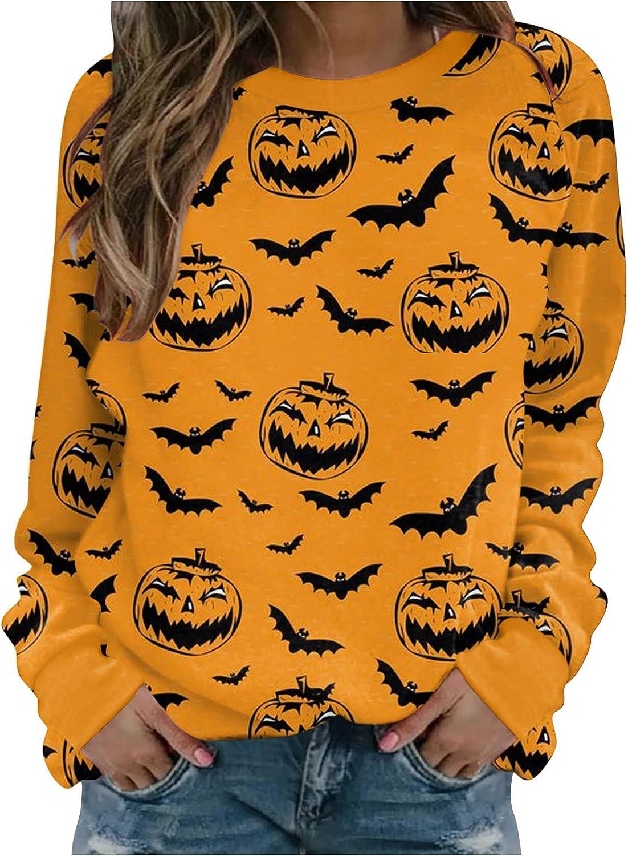 Jaqqra Halloween Shirts for Women Long Sleeve Pumpkin Bat Crewneck Sweatshirts Loose Pullover Tops Costumes Sweaters