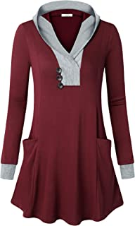 Youtalia Women Long Sleeve Hoodies Tunics Sweatshirts with Pockets Casual Tops
