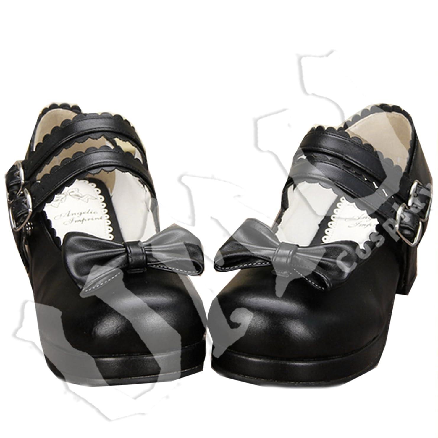 花火官僚割り当てます【UMU】 LOLITA ロリータ クロ 可愛い 日常 風 靴 ブーツ ブーティ オーダーメイド(ヒール高、材質、靴色は変更可能!) (足28cm)