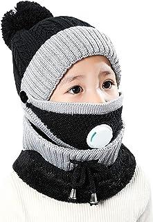 Jelord - Gorros Invierno Niña Niño Conjunto de Gorro y Bufanda Mascarilla Gorros Bebé con Pompon Protección Cuello Orejas ...