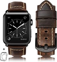 Compatible for apple Watch Band 42mm 44mm men,Top Grain Leather Band Replacement Strap iWatch Series 5/ 4/ 3/ 2/ 1,Sport, Edition. New Retro discoloured Leather (Retro coffee+Black Buckle, 42mm 44mm)