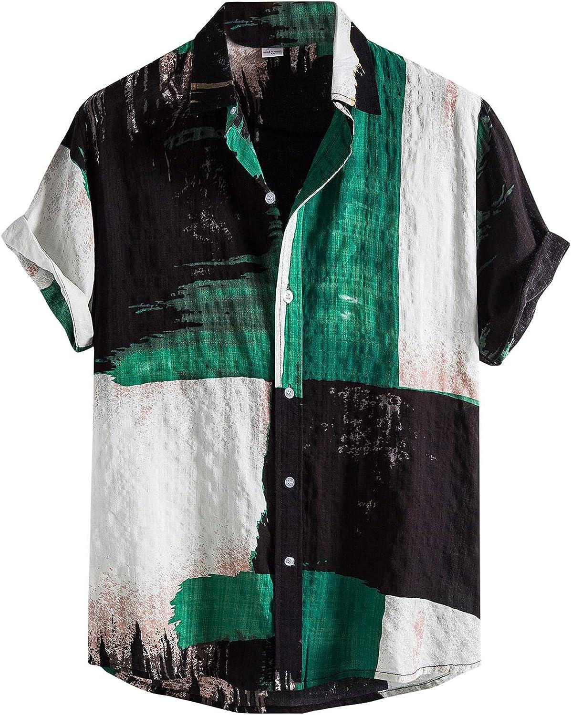 XUNFUN Men's Hawaiian Shirt Short Sleeve Button Down Print T-Shirts Regular Fit Vintage Casual Beach Tops Blouse
