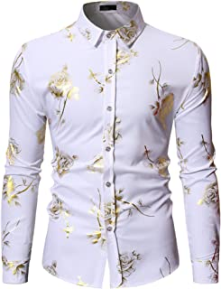 Mens Luxury Gold Rose Print Shirt Long Sleeve Slim Fit Button Down Dress Shirts for Party/Wedding/Shows