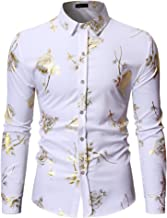 HOP Mens Luxury Gold Rose Print Shirt Long Sleeve Slim Fit Button Down Dress Shirts for Party/Wedding/Shows