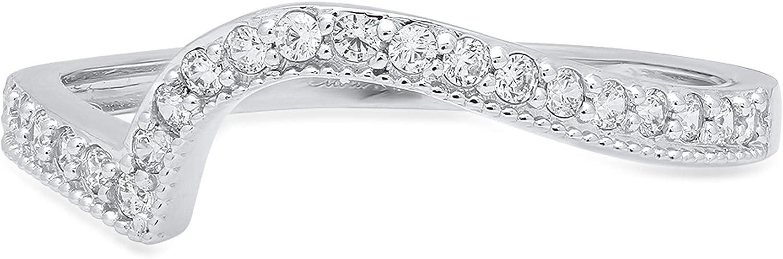 Clara Pucci Round Cut Curved Chevron V Shape Pave Bridal Anniversary Engagement Wedding Band 14K White Gold, 0.06CT