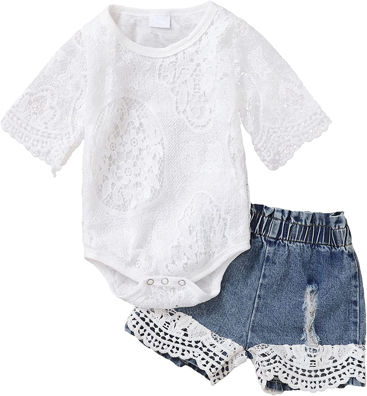 Newborn Baby Girl Clothes, Cute Infant Toddler Outfit, Lace Romper Top and Short Jeans Set