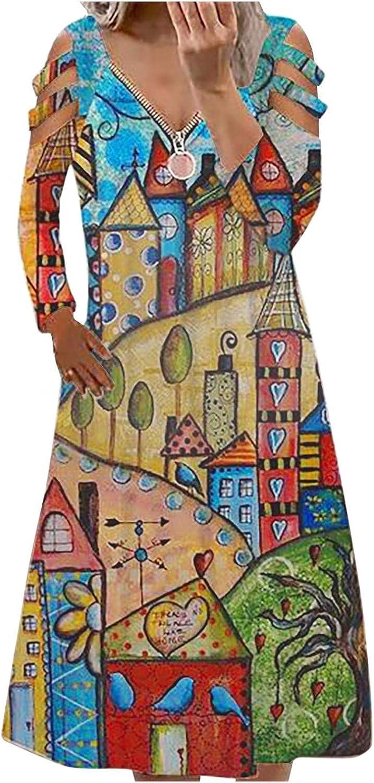 ManxiVoo Womens Zipper V-Neck Hollow Out Long Sleeve Dresses Vintage Print Long Dress Basic T Shirt Dress