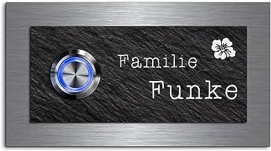 Elegante deurbel met gravure en LED-belknop en meer dan 100 motieven personaliseerbaar 11x6 cm | Model: Funke-e | gegravee...