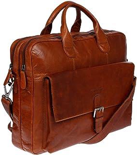 Christian Wippermann Business Aktentasche mit RFID Schutz Tasche Messenger Laptop Leder Schultertasche Lehrertasche Cognac