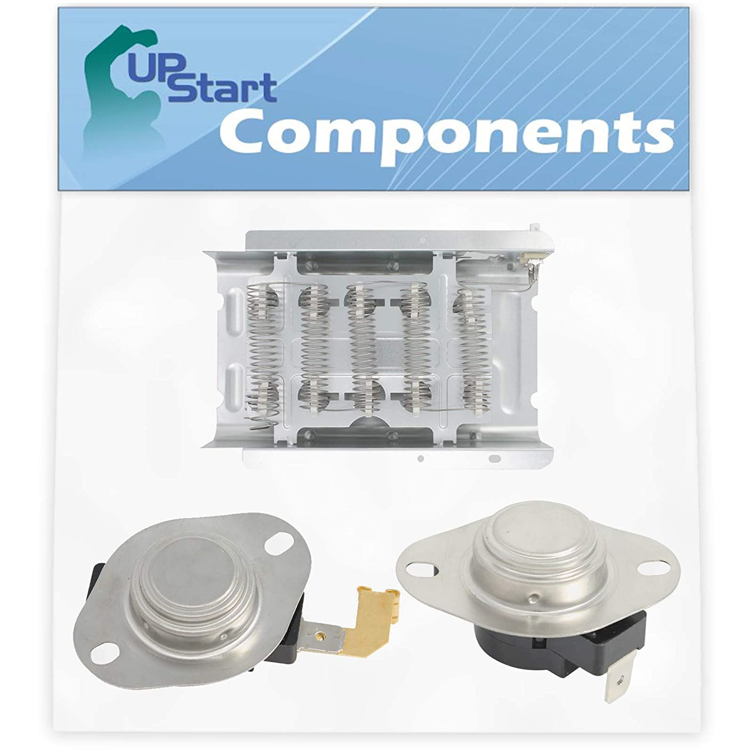 279838, 3977767 & 3392519 Dryer Heating Element & Thermostat Combo Pack Replacement for Whirlpool 4GWED4900YQ2 - Compatible with 279838, 3977767 & 3392519 Heater Element and Thermostat Combo Pack