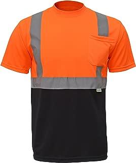 (NEW SIZES) CJ Safety CJHVTS2003 ANSI Class 2 High Vis Short Sleeve Black Bottom Safety Shirt Moisture Wicking Mesh (3XL, Orange)