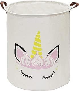 KUNRO Large Sized Storage Basket Waterproof Coating Organizer Bin Laundry Hamper for Nursery Clothes Toys (Crown Unicorn)