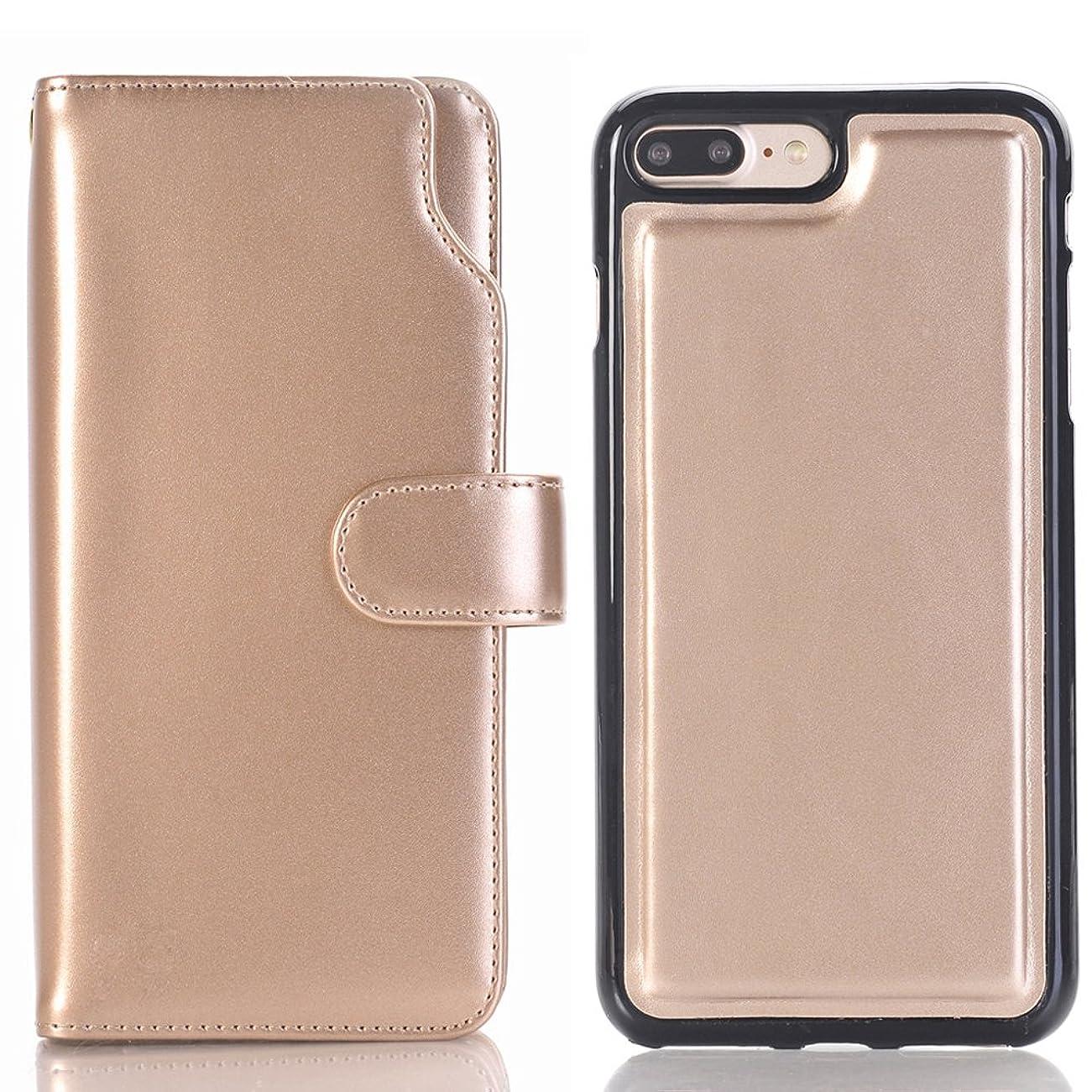 アノイラフ横向きiPhone 6 Plus ケース 分離可能、SIMPLE DO 良質レザー おしゃれデザイン カード収納 傷つけ防止 業務用(ゴールド)