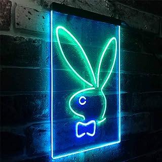 Zusme Bunny Rabbit Kid Room - Decoración LED de neón y exterior verde (30 x 40 cm)