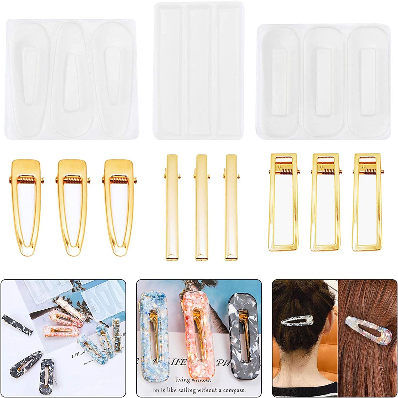 Teabelle 12 Pack DIY Hair Pin Mold Over item handling ☆ famous Kit Resin Metal Mo Clip