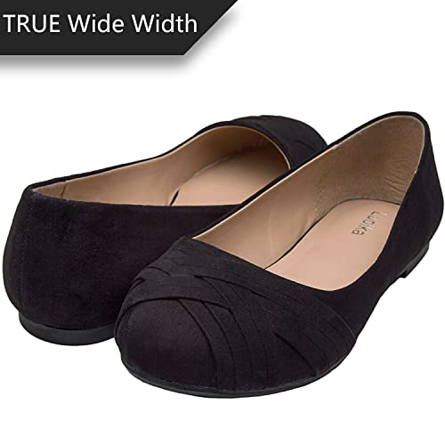 dc7be29e7532 Luoika Women s Wide Width Flat Shoes - Comfortable Slip On Round Toe Ballet  Flats