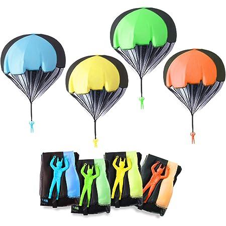 6 Pi/èces Main Lancer Parachute Jouet Set Soldats Main Lancer Parachute Jouets de Plein air pour Enfants BESTZY Parachute Jouet