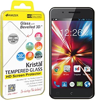 Amzer Kristal HD Tempered Glass Screen Protector for Micromax Canvas Spark Q380 - Retail Packaging -