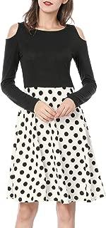 Women's Polka Dots Color Block Cut Out Shoulder Above Knee Dress