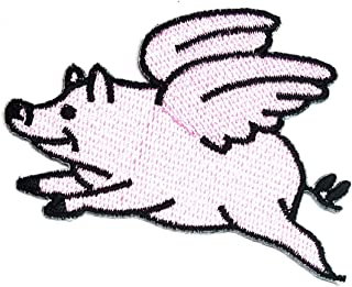 Pink Pig Wing Flying Patch Embroidered Embroidery Clothing Costume or Rewards Gift Children's Patch Cute Pig Sow Hog Swine Boar Livestock Farm Animal Applique Iron-on Patch (29)