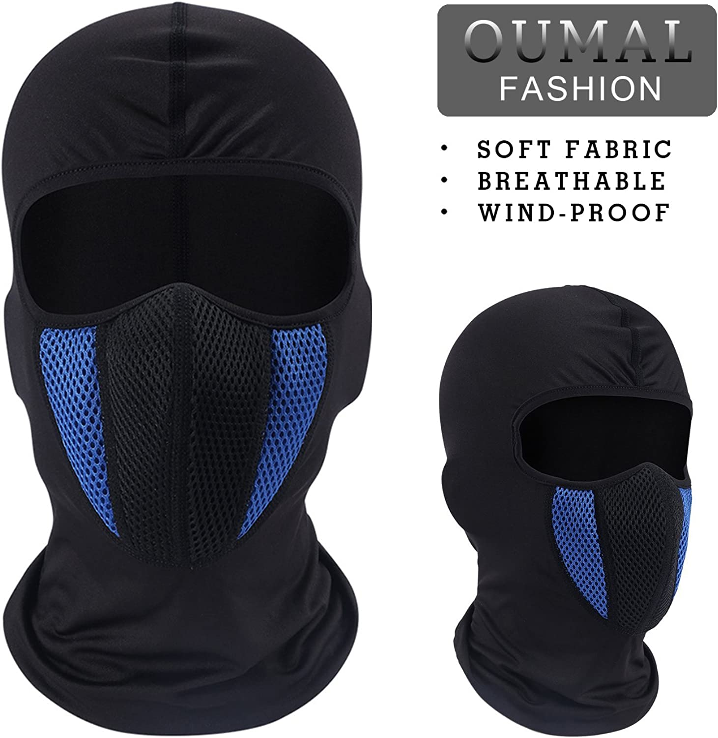 (blueee)  Motorcycle Face Mask Windproof Cycling Mask Breathable Running Balaclava Hood for Men Women