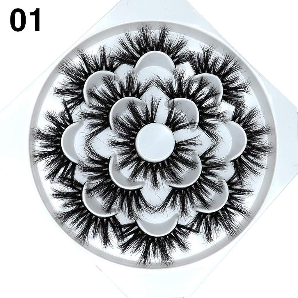歯科の水陸両用弱いgoupgolboll-7ペアナチュラル5d手作りフェイクミンクヘアまつげカーリー厚いまつ毛エクステンション - 1#