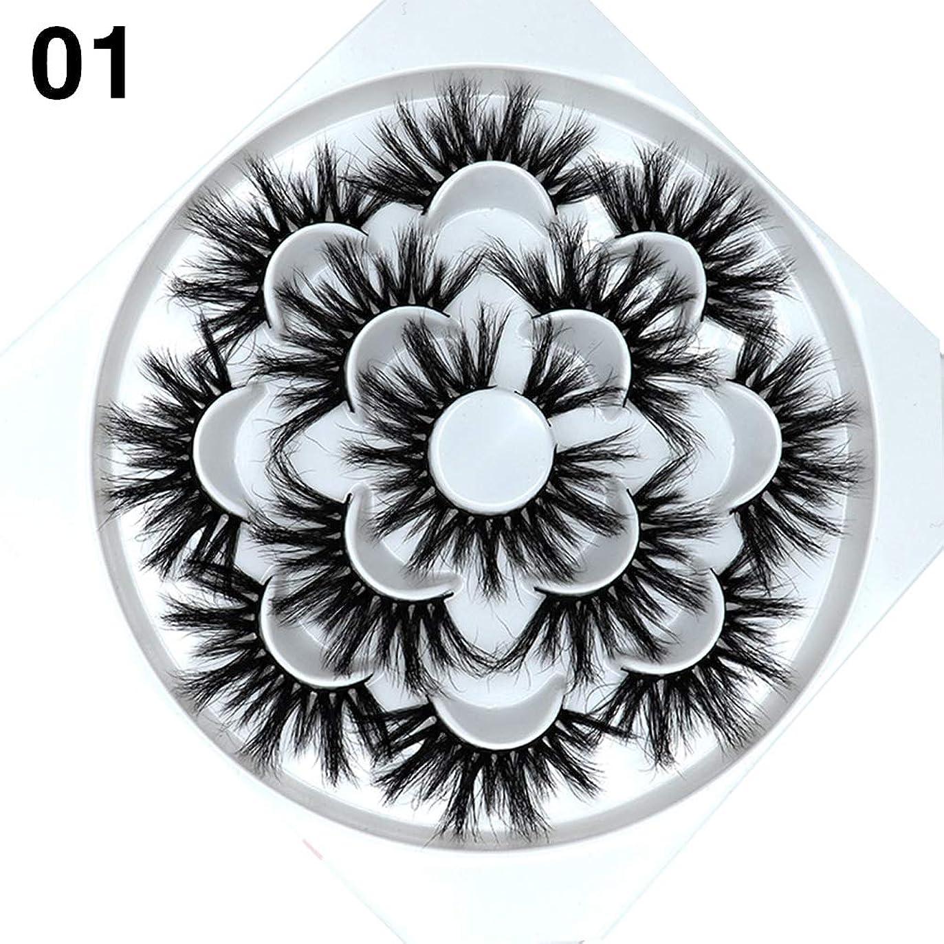 万一に備えて実験室スピーチgoupgolboll-7ペアナチュラル5d手作りフェイクミンクヘアまつげカーリー厚いまつ毛エクステンション - 1#