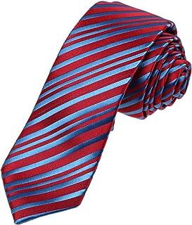 Dan Smith Series Stripes Slim Necktie Microfiber Skinny Tie For Wedding With Free Gift Box