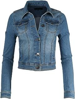 ZIMEGO Womens Slim Crop Top Denim Jacket Long Sleeve Button Up Comfort Stretch