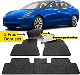 Maxats Tesla Model 3 All Weather Floor Mats Accessories with Free Screen Protector and Leather Organizer - Anti-Slip Genuine Rubber Heavy Duty 2017-2019 (5 Pack Front & Rear) Non-Odor