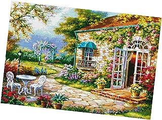 F Fityle Kreuzstich Stickpackung Stickbild Stickvorlage vorgedruckt Sticken Stickset Garten Haus