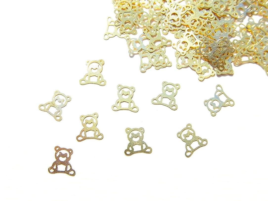 含める母音肉の【jewel】ug20 薄型ゴールド メタルパーツ クマ 熊10個入り ネイルアートパーツ レジンパーツ