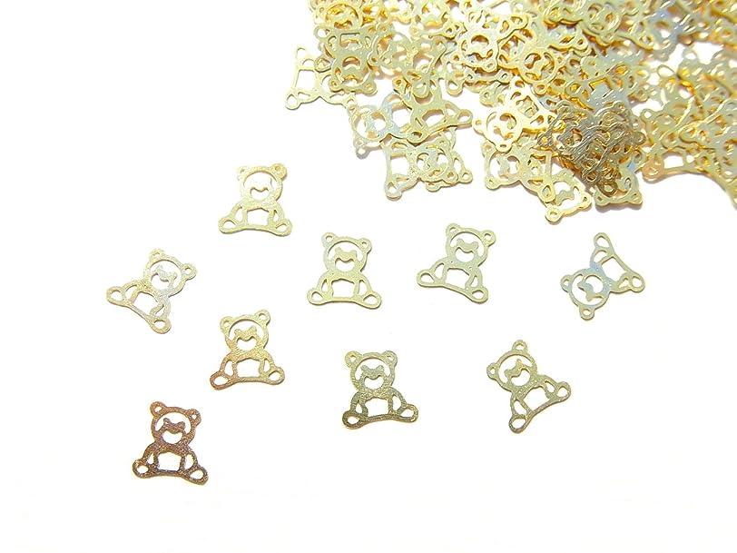 ルートポーク忌避剤【jewel】ug20 薄型ゴールド メタルパーツ クマ 熊10個入り ネイルアートパーツ レジンパーツ
