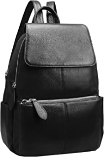 Heshe Womens Leather Backpack Flap Casual Daypacks Fashion Bag for Ladies and Girls (Black)