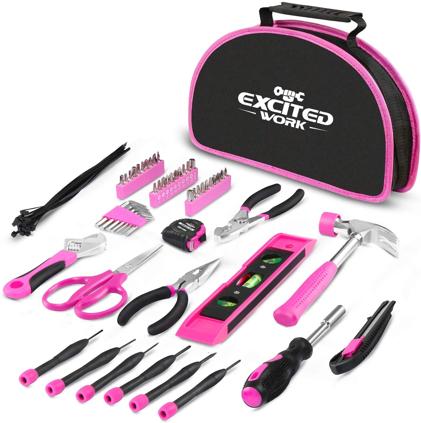 EXCITED WORK 69-Piece Pink Tool kit for Women with Easy Carrying Round Pouch