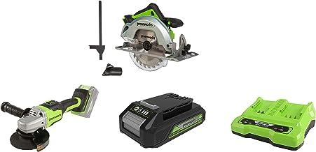 Greenworks Tools 1500907 Sierra Circular, 24 V + Amoladora angular inalámbrico GD24SAG + Batería G24B2 2ª generación + Batería de doble ranura Cargador universal G24X2C