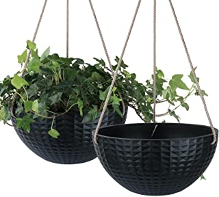 LA JOLIE MUSE Hanging Planter Set for Outdoor Indoor with Drain Hole, 10 Inch Plant Pots with Geometric Mosaic Texture Pat...