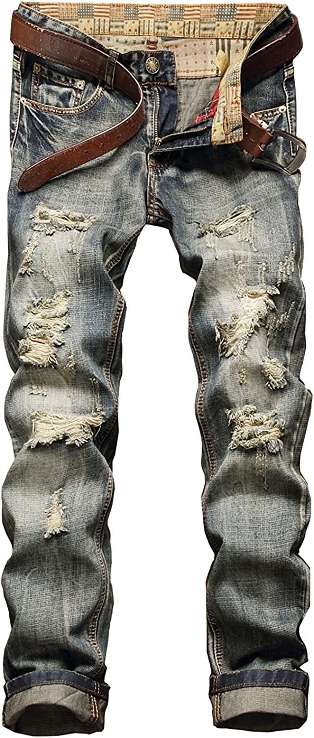Banana Bucket Men's Cheap Ripped Max 51% OFF Slim Straight with Jeans Biker Zi fit
