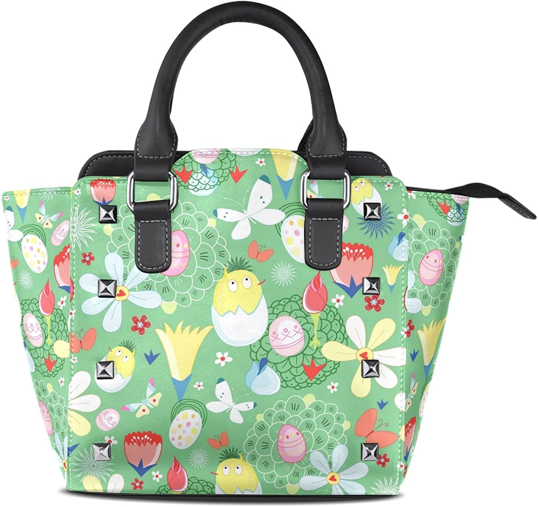 My Little Nest Women's Top Handle Satchel Handbag Egg Flower Ladies PU Leather Shoulder Bag Crossbody Bag