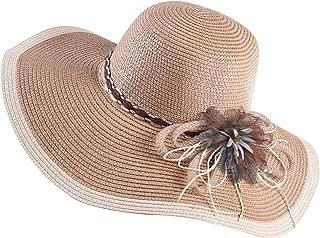 WITHMOONS Womens Sun Hat Wide Brim Floppy Beach Cap Packable Flower Hat QZ90051
