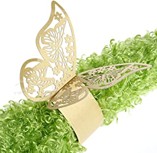 King&Pig 50pcs Laser Cut Butterfly Shape Napkin Rings for Dinners Lunch Tables Home Wedding Birthday Date Anniversray Party Decorations (gold)