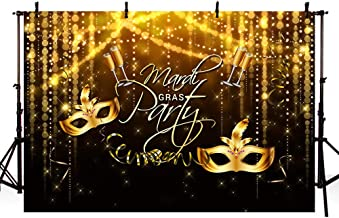 MEHOFOTO Mardi Gras Party Photo Studio Booth Background Props Glitter Gold and Black Mask Champagne Makeup Dance Party Decoration Backdrops Banner for Photography Poster 7x5ft