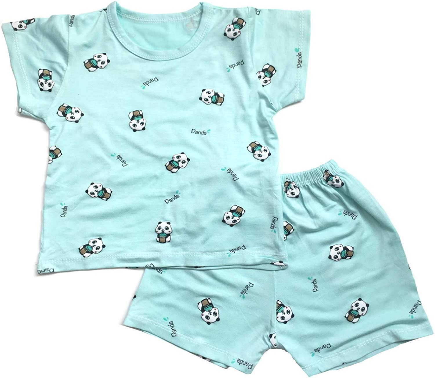 Unisex Toddler Baby Summer Cotton Stretchy Outfit Set 2-Piece Panda Graphic (12M-4T)