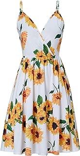RAISEVERN Women's V Neck Dress Adjustable Spaghetti Strap Dresses Summer Hawaiian Flared Swing Dress with Pocket