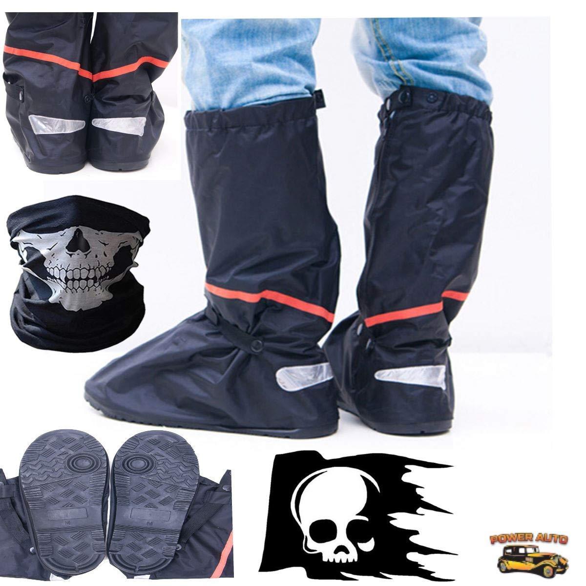 摩托车靴套 - 全鞋一脚蹬 w/便携包、贴花和面罩 2X 黑色 PA-RainBoots